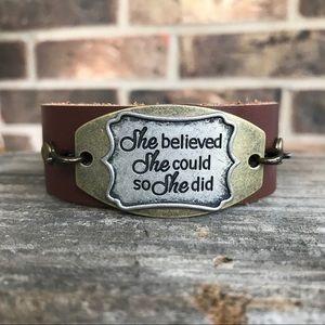Jewelry - Brown faux leather cuff bracelets